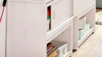 Lifetime kidsroom multifunctional play and store cupboard - desk, table and storage solution in white and whitewash